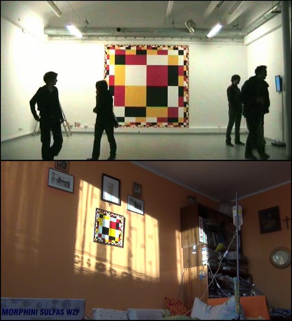 """klatka filmowa zcyklu Błąd wczasoprzestrzeni, 2011/12, Miłosny Performance: """"Miłość wcieniu tragedii"""", Aleka Polis"""
