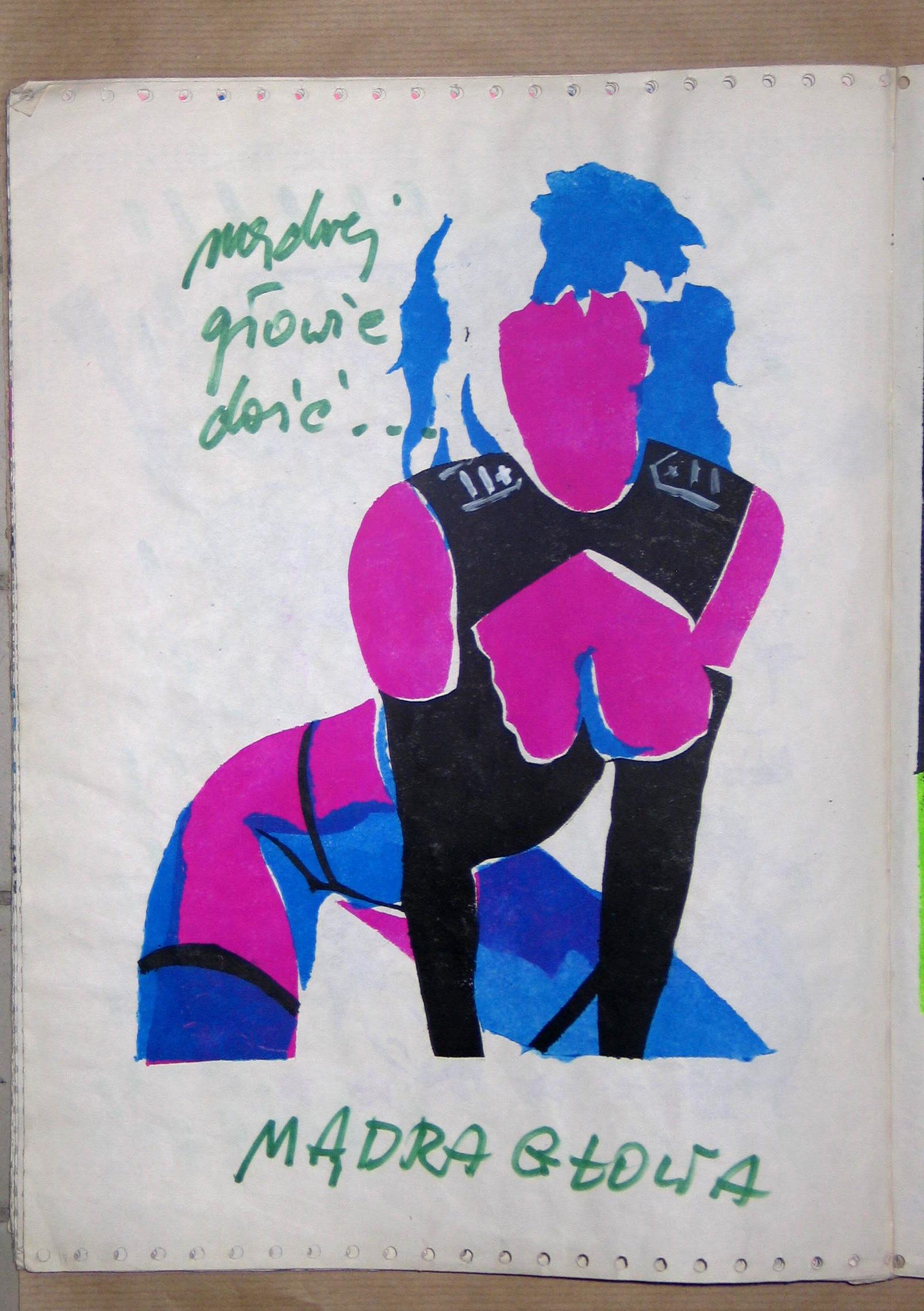 """Magazyn """"LUXUS"""" nr4, 1985, strona Bożeny Grzyb iPawła Jarodzkiego"""