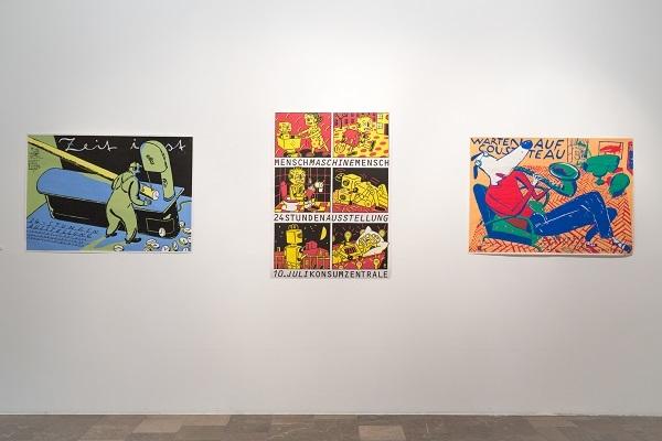 """Homas Müller """"Warten auf Custeau"""", print, A0, 2014;  """"Zeit ist"""", print, A0, 2014; """"Menschenmaschinmensch"""", print, A0, 2014"""