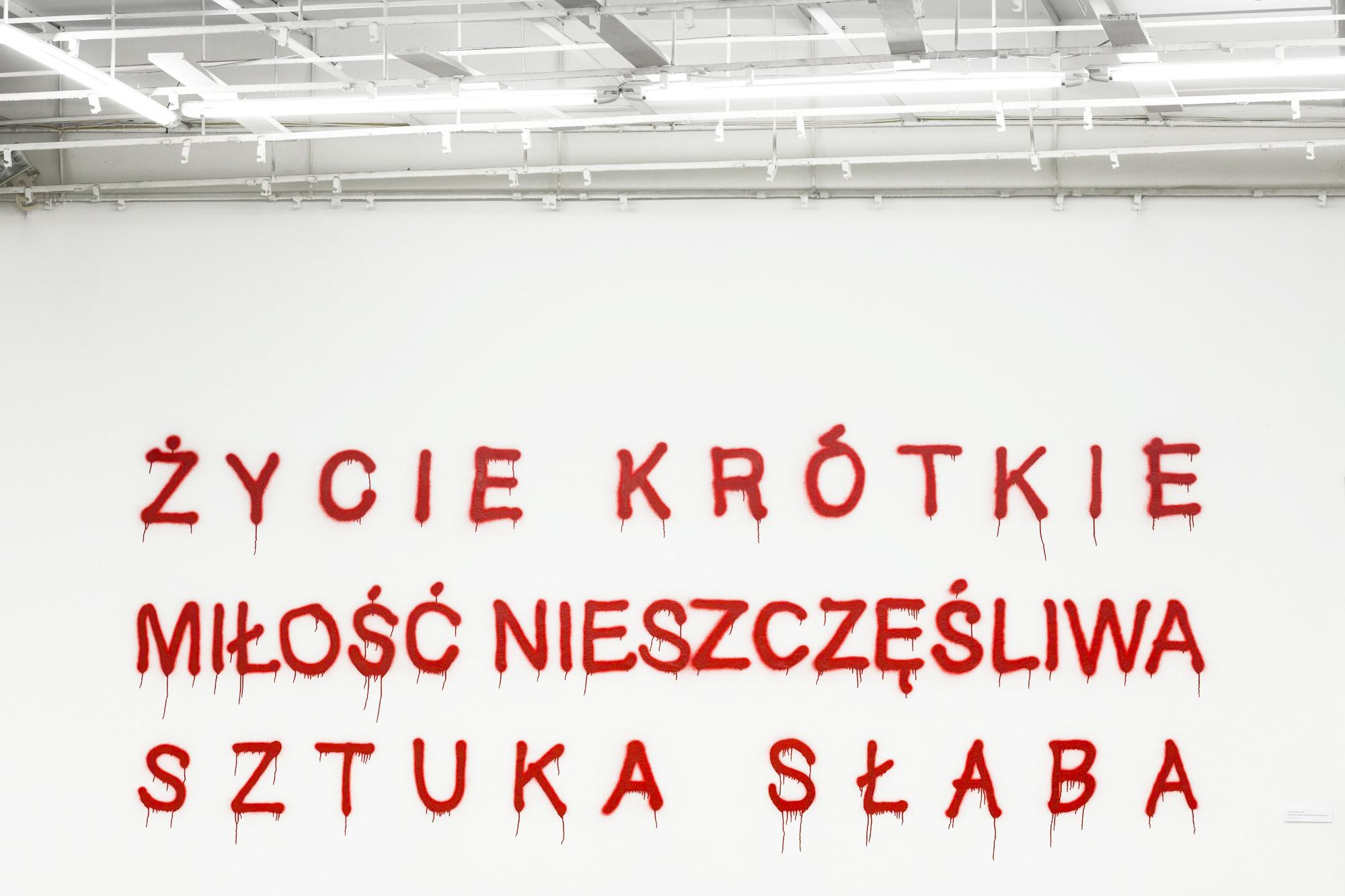 """Hubert Czerepok, """"Untitled"""" (ŻYCIE KRÓTKIE, MIŁOŚĆ NIESZCZĘŚLIWA, SZTUKA SŁABA), spray naścianie, 2014"""