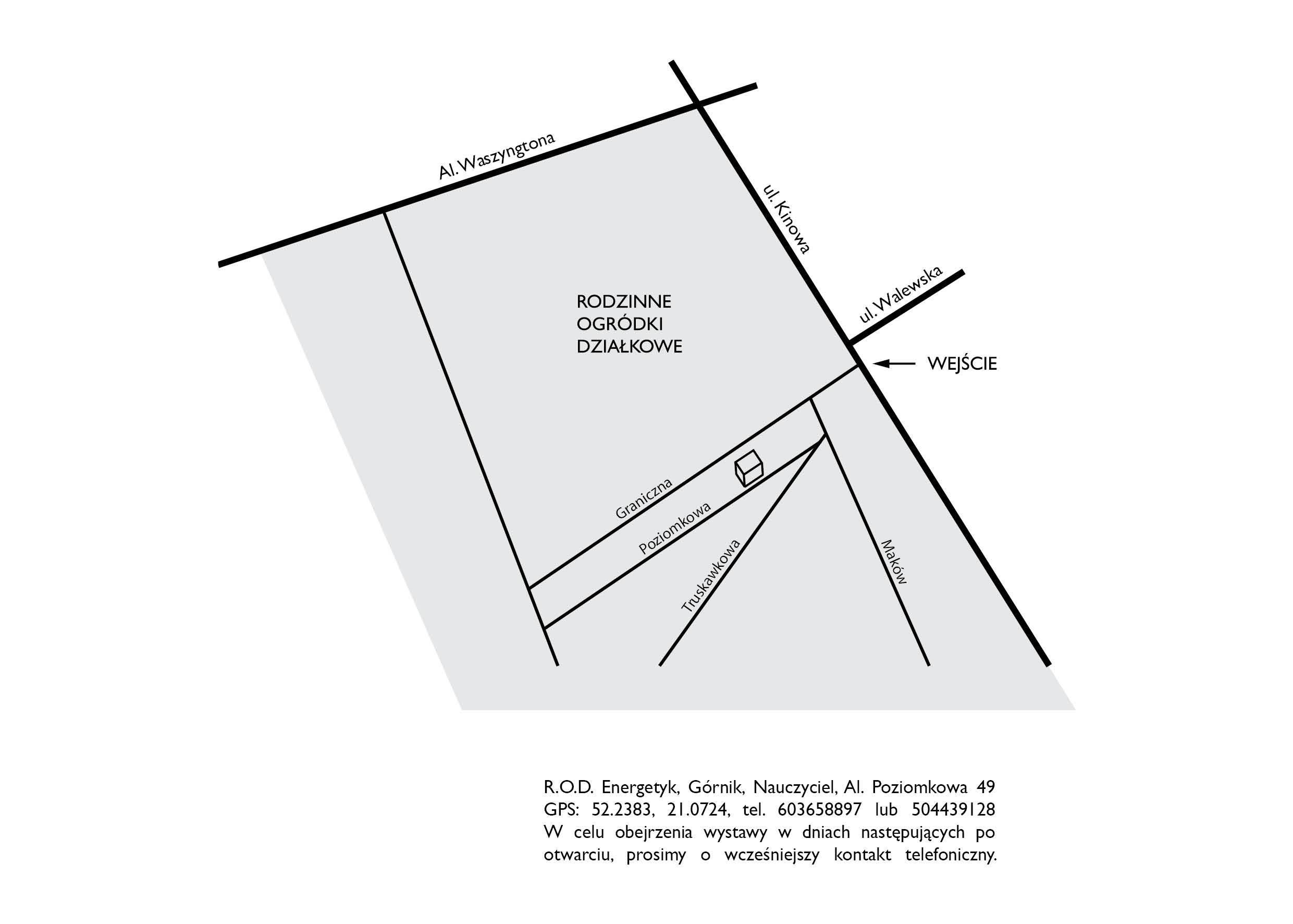 Mapa jak dojść nawystawę Gizeli Mickiewicz