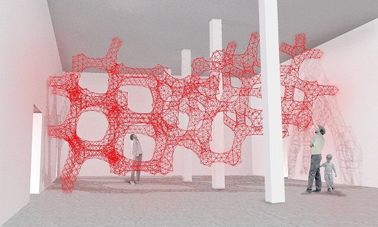 Akihisa Hirata, wstępna wizualizacja pracy Häm, 2014