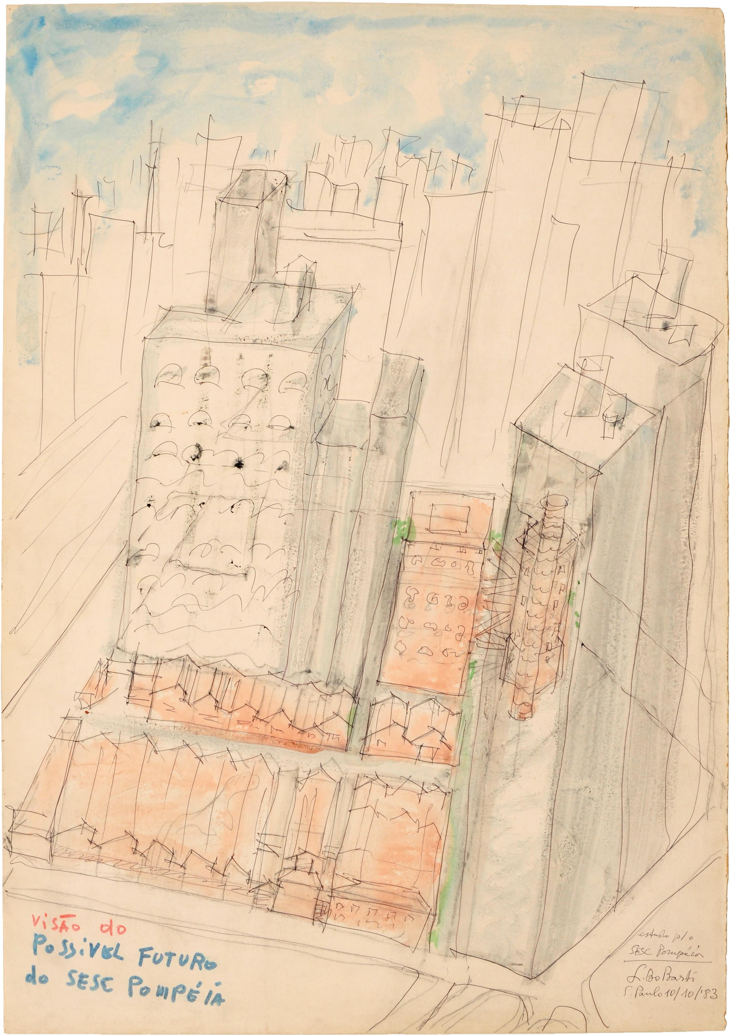 Lageskizze für das SESC – Fabrica da Pompeia São Paulo, rysunek Liny Bo Bardi, 1977 © Arquivo ILBPMB