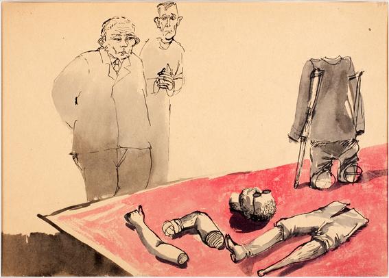 Andrzej Wróblewski, Muzeum, 1956, gwasz napapierze, 30 x 41 cm, Muzeum Sztuki Nowoczesnej wWarszawie