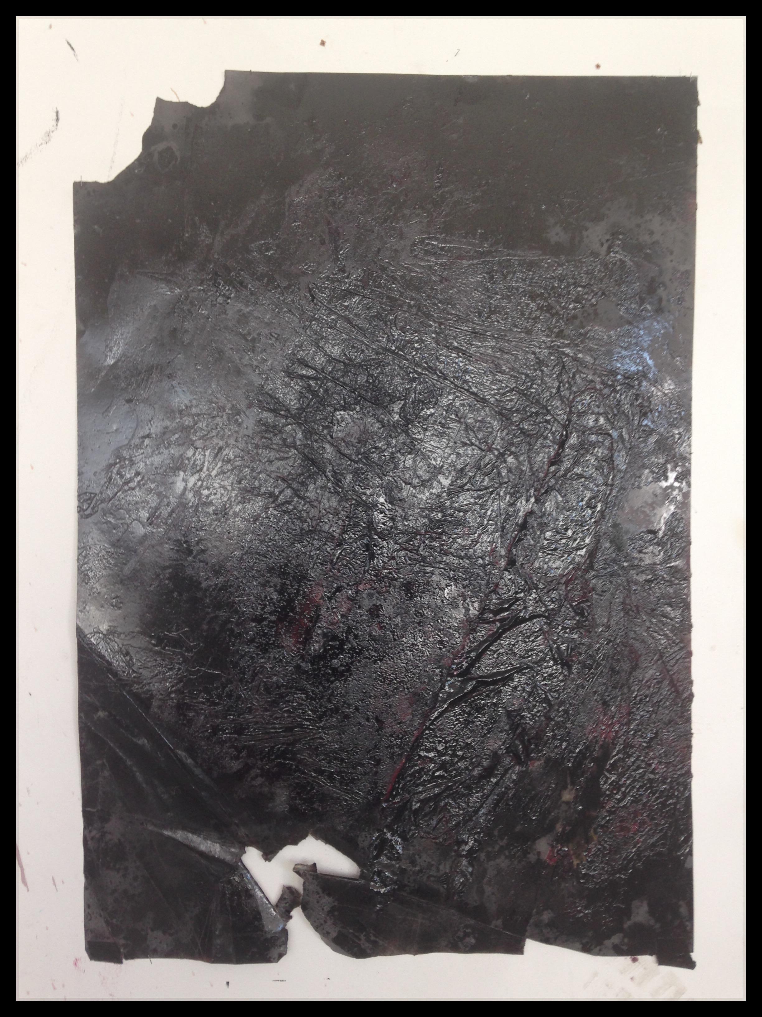 Piotr Janas, Beztytułu, 2014, 100x70 cm + oprawa, olej, lakier, farba ftalowa napapierze