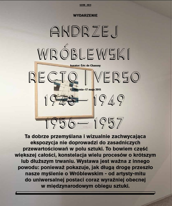 """W 8 numerze """"Szumu"""" Piotr Słodkowski pisze owystawie Recto/Verso"""