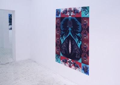 """Vaporcore postpatriotyczny"""" Stach Szumski ołtarz lentikularny 120x10 cm 2015"""