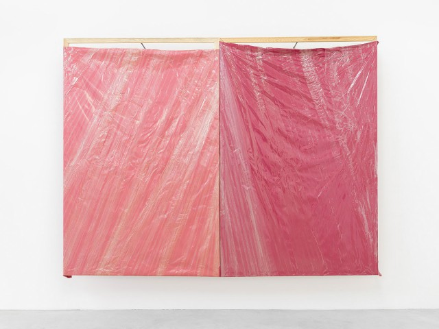 Michał Budny, Deep Red, 2015, wood, metal, fabric, adhesive tape