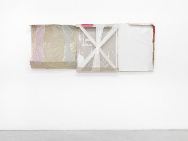 Portrait, 2014, Cardboard, paper, plastic film, paint, adhesive tape