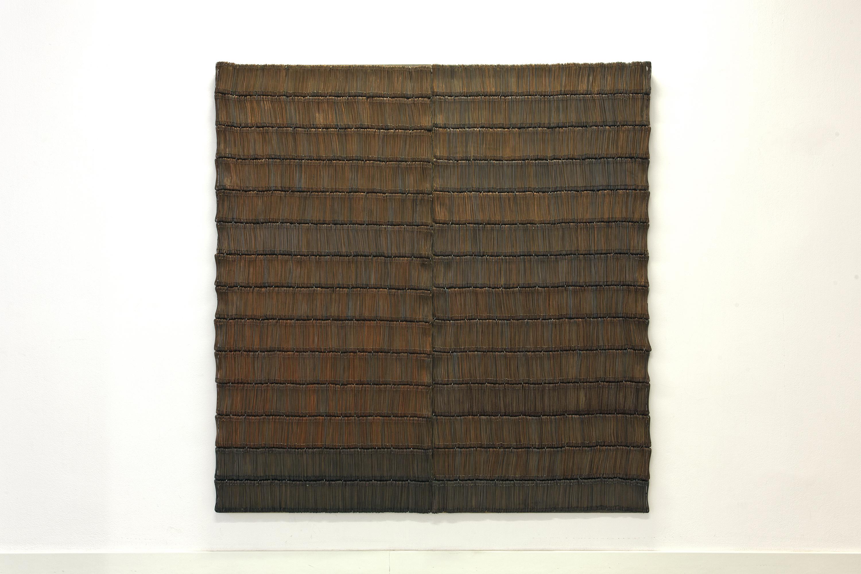 Małgorzata Turewicz Lafranchi, Drzwi, 1996, 170x160 cm, płyta pilśniowa, stal miedziowana