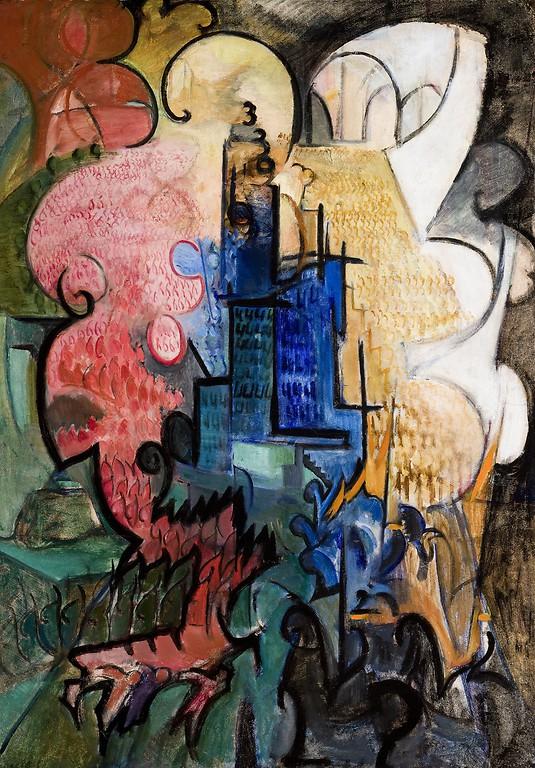 Leon Chwistek, Miasto, ok. 1919, olej, tektura, Muzeum Narodowe wKrakowie