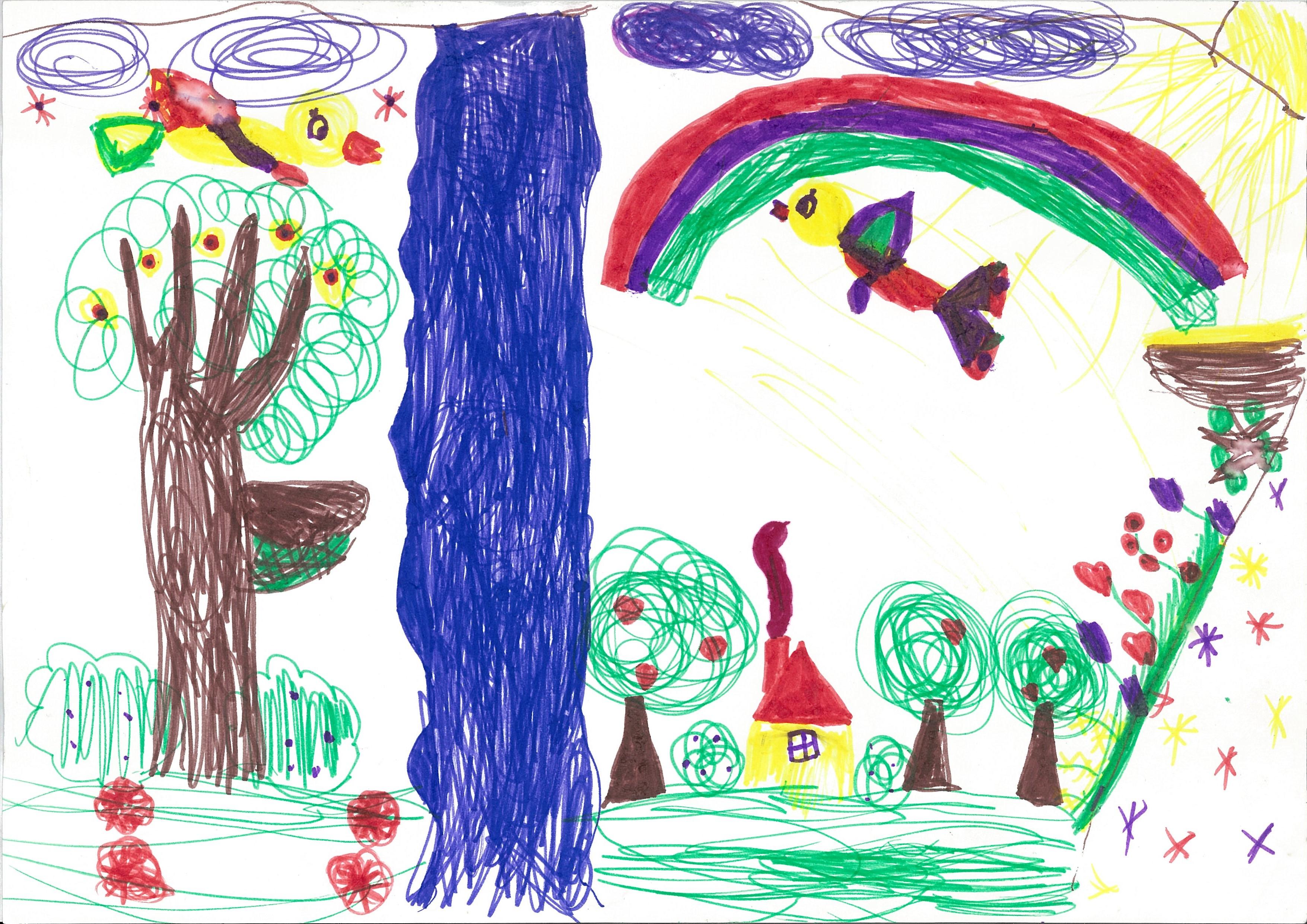 Idylliczne dzieciństwo jeszcze niezmącone traumą (rysunek, mazak napapierze, 1993)