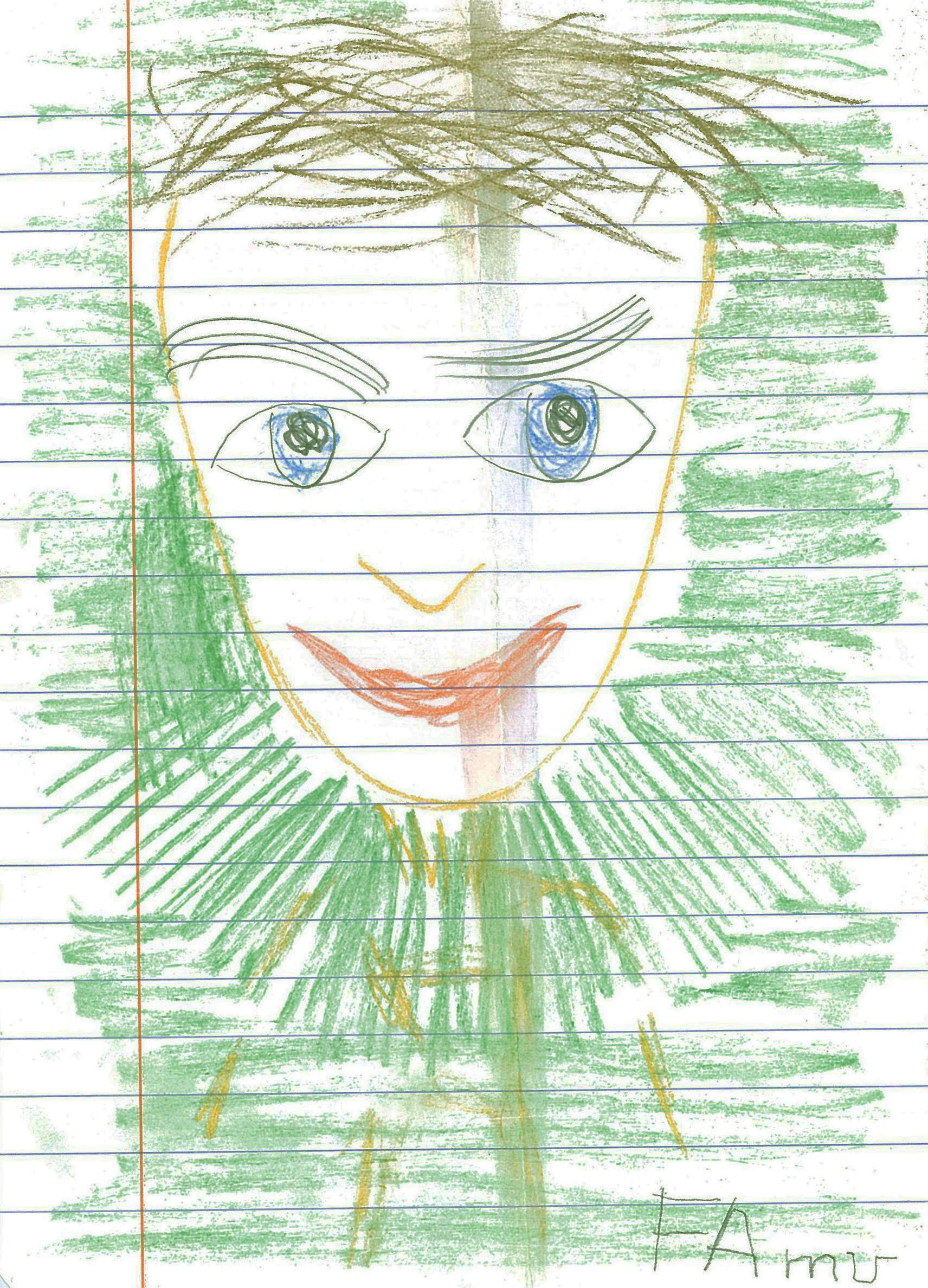 Faun (rysunek, kreda nakartce zzeszytu wlinie, 1993)