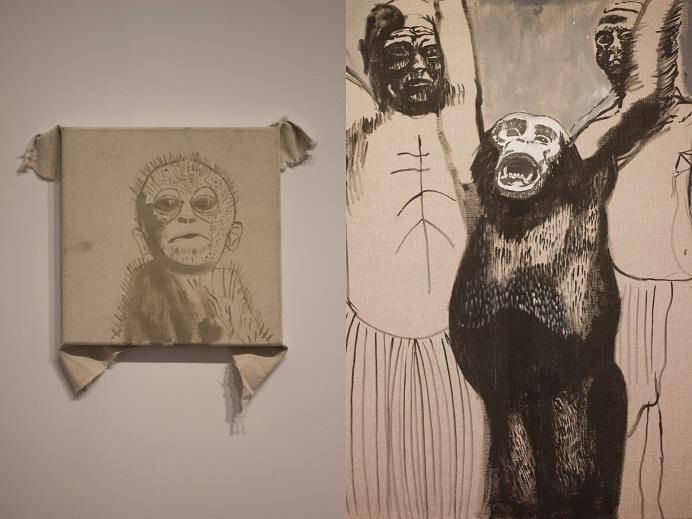 Honorata Martin, Twarze, cykl, akryl napłótnie, 2015, fragment ekspozycji