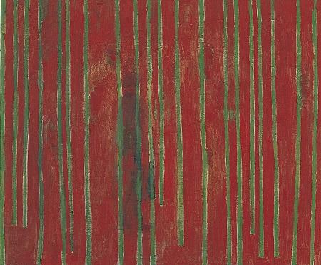 Jan Vanriet, Człowiek wczerwonym lesie, 2004, olej napłótnie, 50 x 60 cm