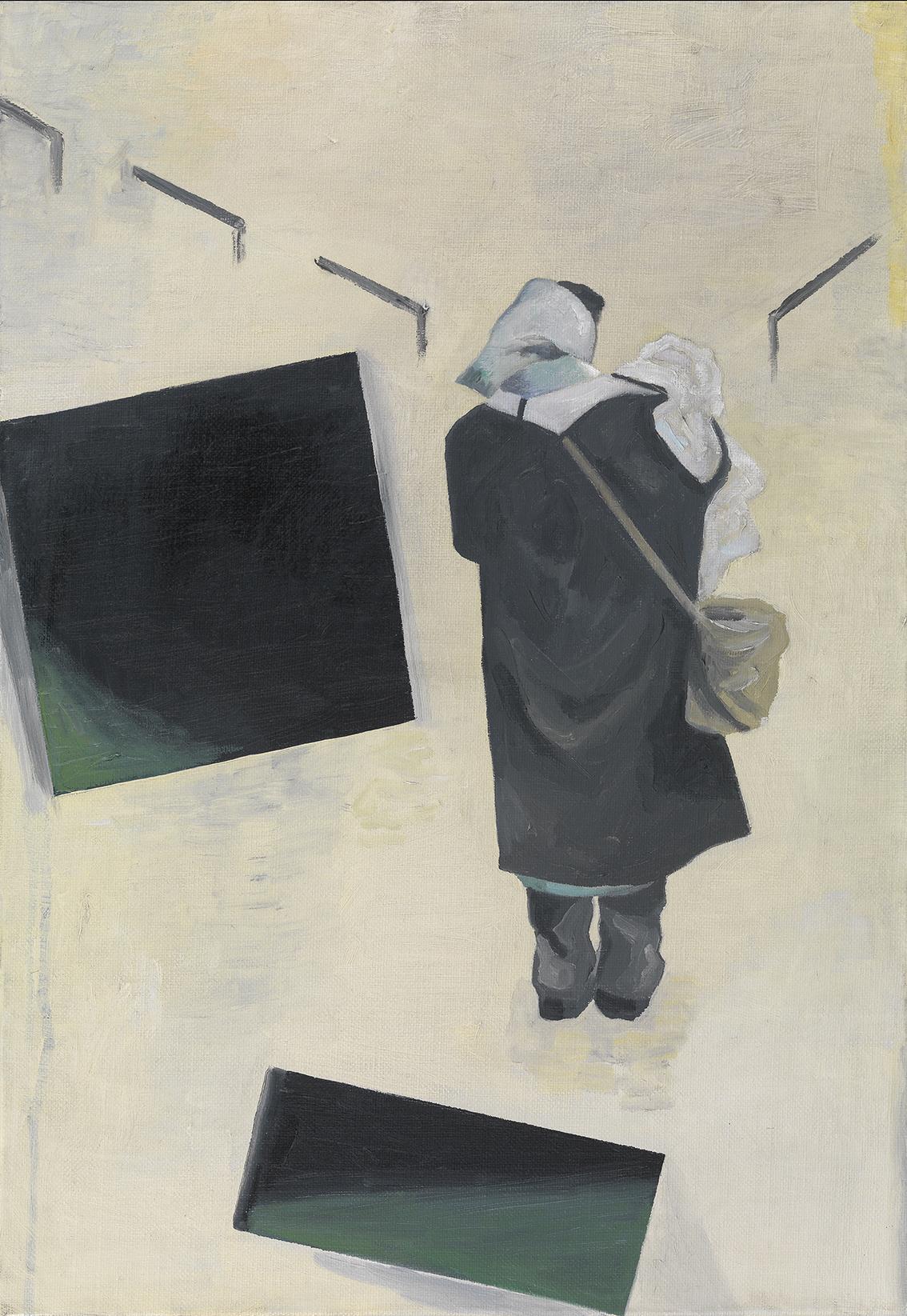 Jan Vanriet, Madonna, Zamknięte drzwi (Prostokąty), 2012, olej napłótnie, 55 x 37 cm