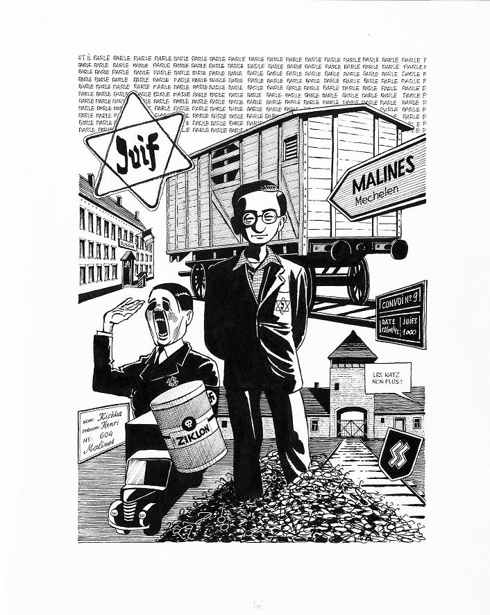 Michel Kichka, Drugie pokolenie. Czego niepowiedziałem swojemu ojcu (Deuxième génération. Ce que je n'ai pas dit à mon père), 2012 komiks, 35,5 × 43,3 cm dzięki uprzejmości Dargaud-Lombard-Dupuis Paris
