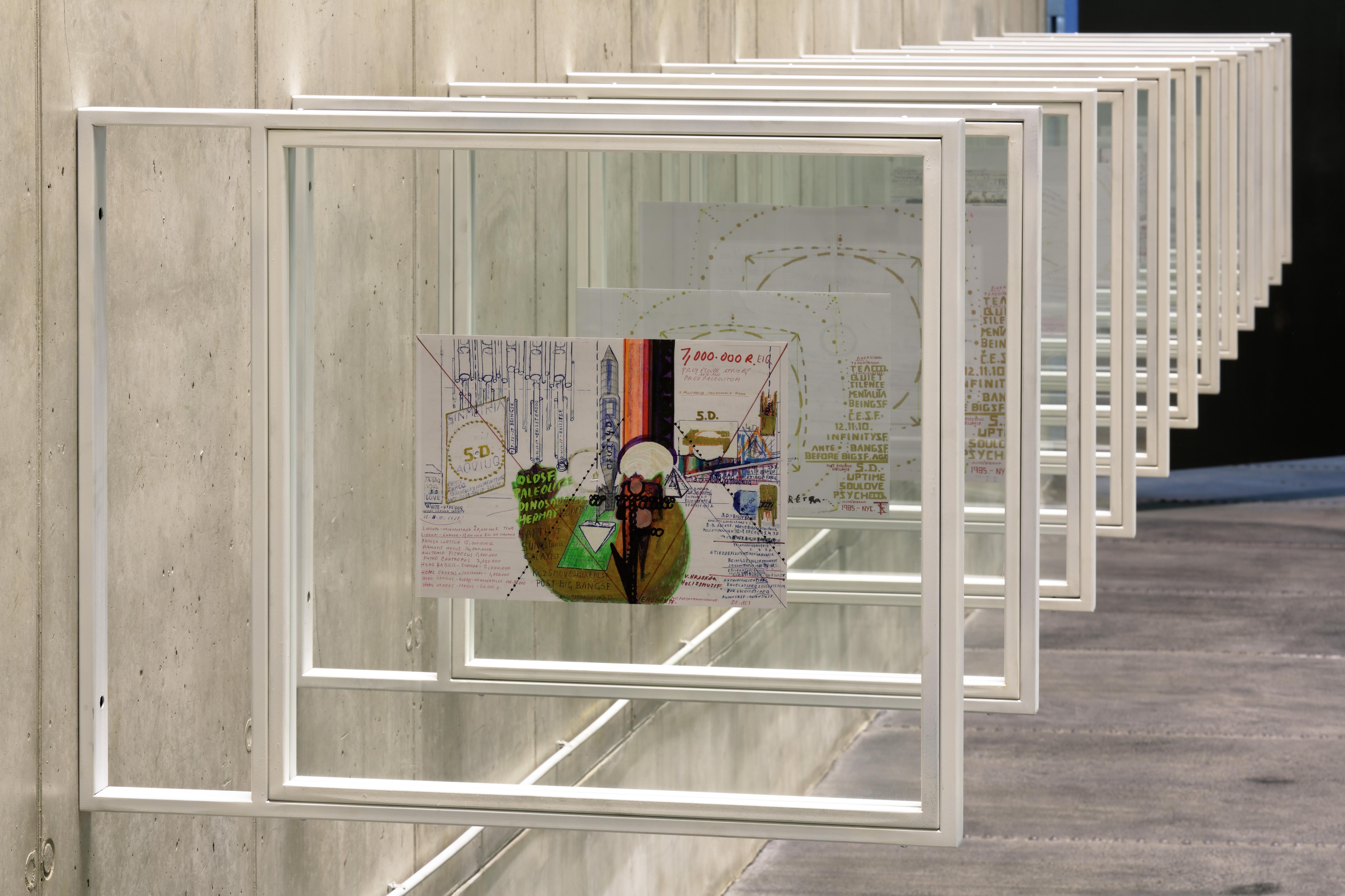 rysunki dointalacji 5.D. - ABSOLUTOBJEKTIVINFINITYUPTIMEQ ( AOIUQ ) , około roku 2005, technika mieszana napapierze , 29,5 x 42 cm , Linea Collection