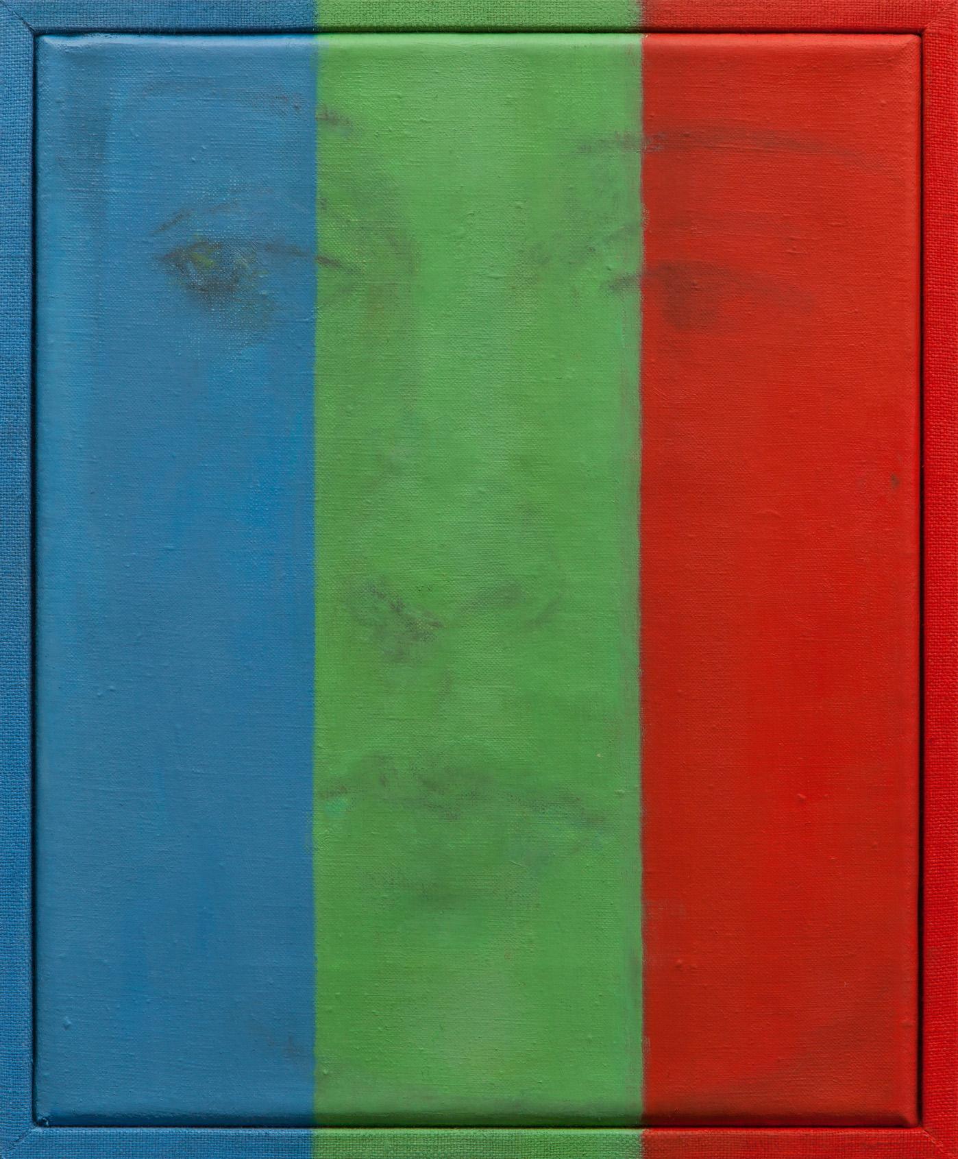 Michelle Rawlings, Green Stripe, 2015, olej napłótnie lnianym, płócienna oprawa, 23 x 25 cm