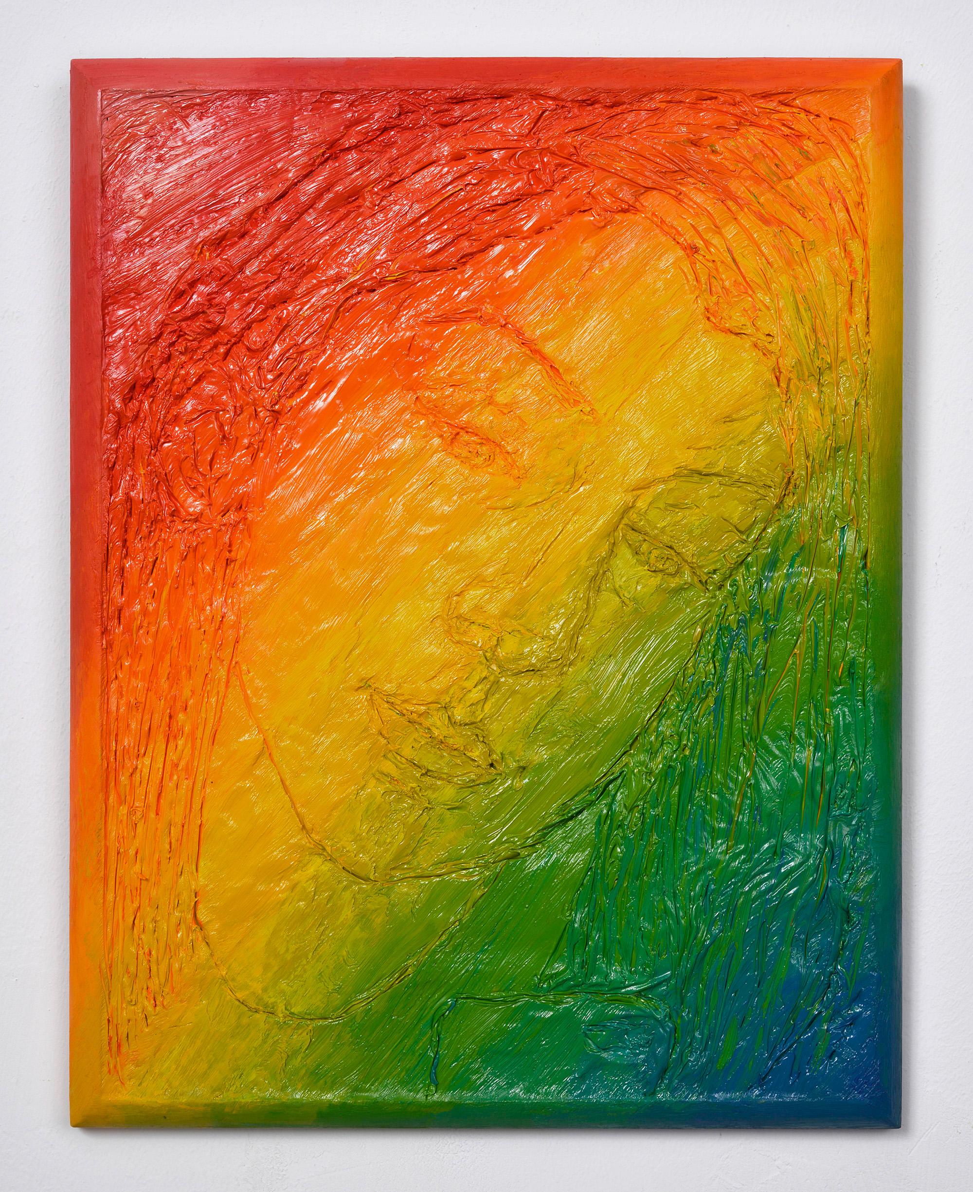 Rainbow selfy, 2015, olej napłótnie lnianym nadesce zręcznie malowaną ramą, 33 x 25,5 x 2,5 cm