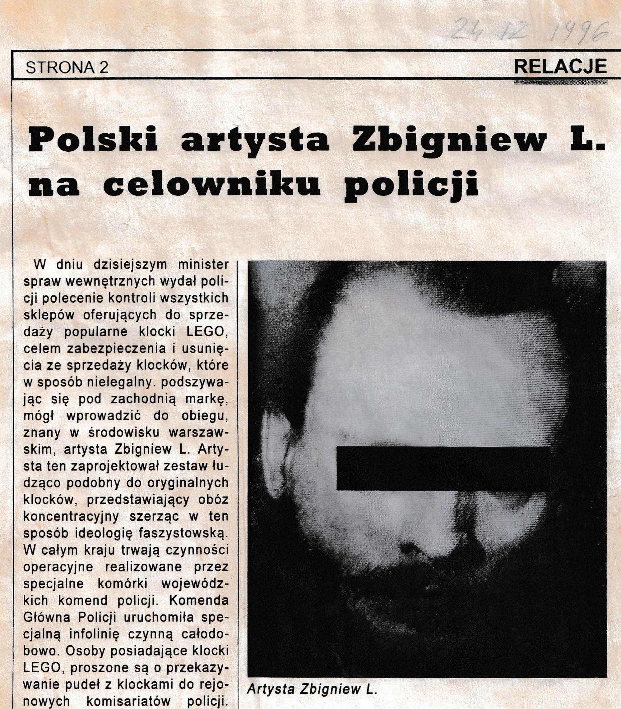 Wycinek prasowy oZbigniewie L., 1996