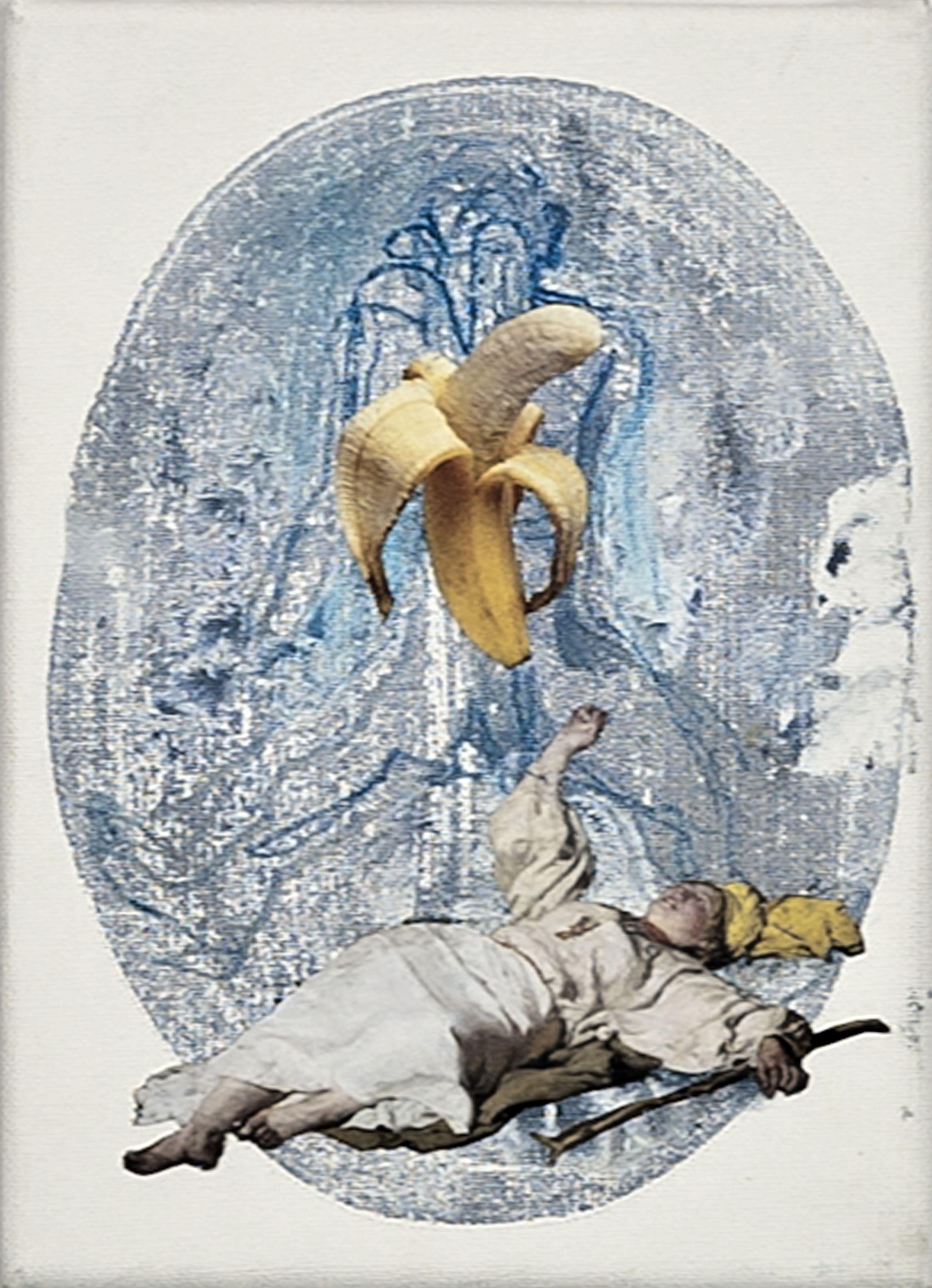 Józef Ch., akryl, kolaż, płótno, 22x16cm, 2014