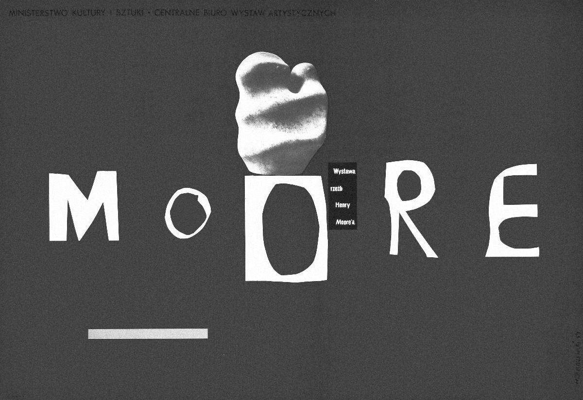 """Henryk Tomaszewski, Wystawa rzeźb Henry Moore'a – zdaniem Wichy """"przykład genialnego wykorzystania przestrznei negatywnej. (…) Wszystko wydaje się potrzebne."""" (ilustracja dzięki uprzejmości wyd. Karakter)"""