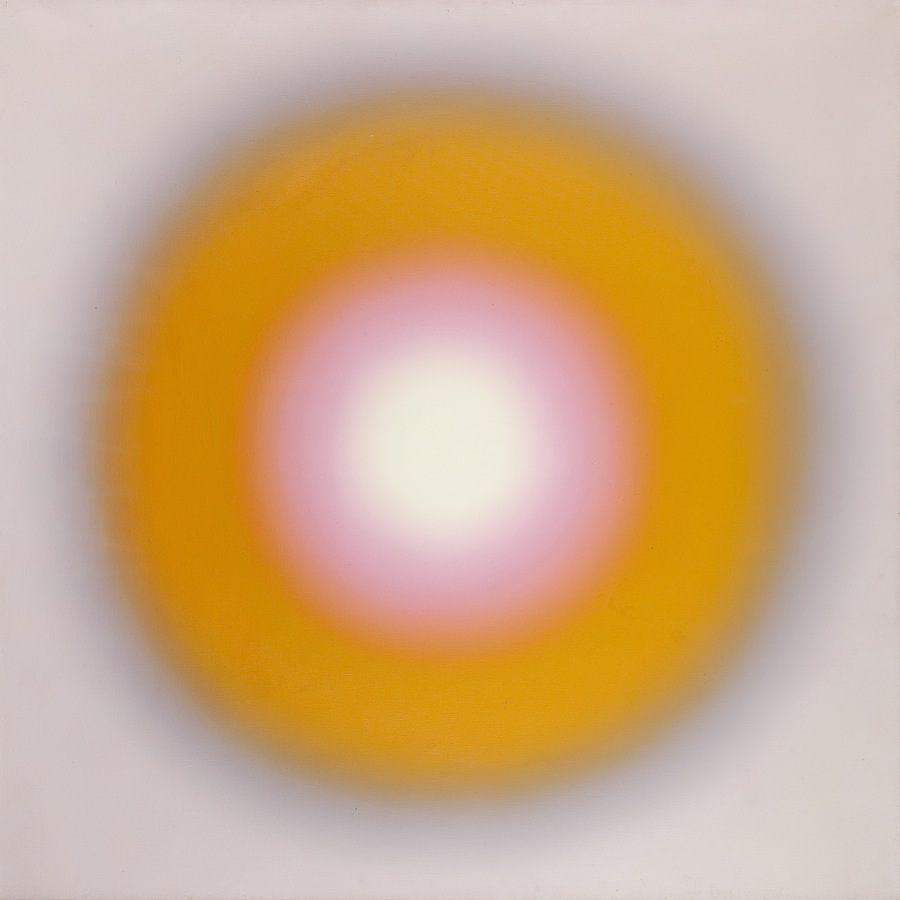 """Wojciech Fangor, """"M 8"""", 1969 r., olej/płótno, 121,5 x 121,5 cm"""