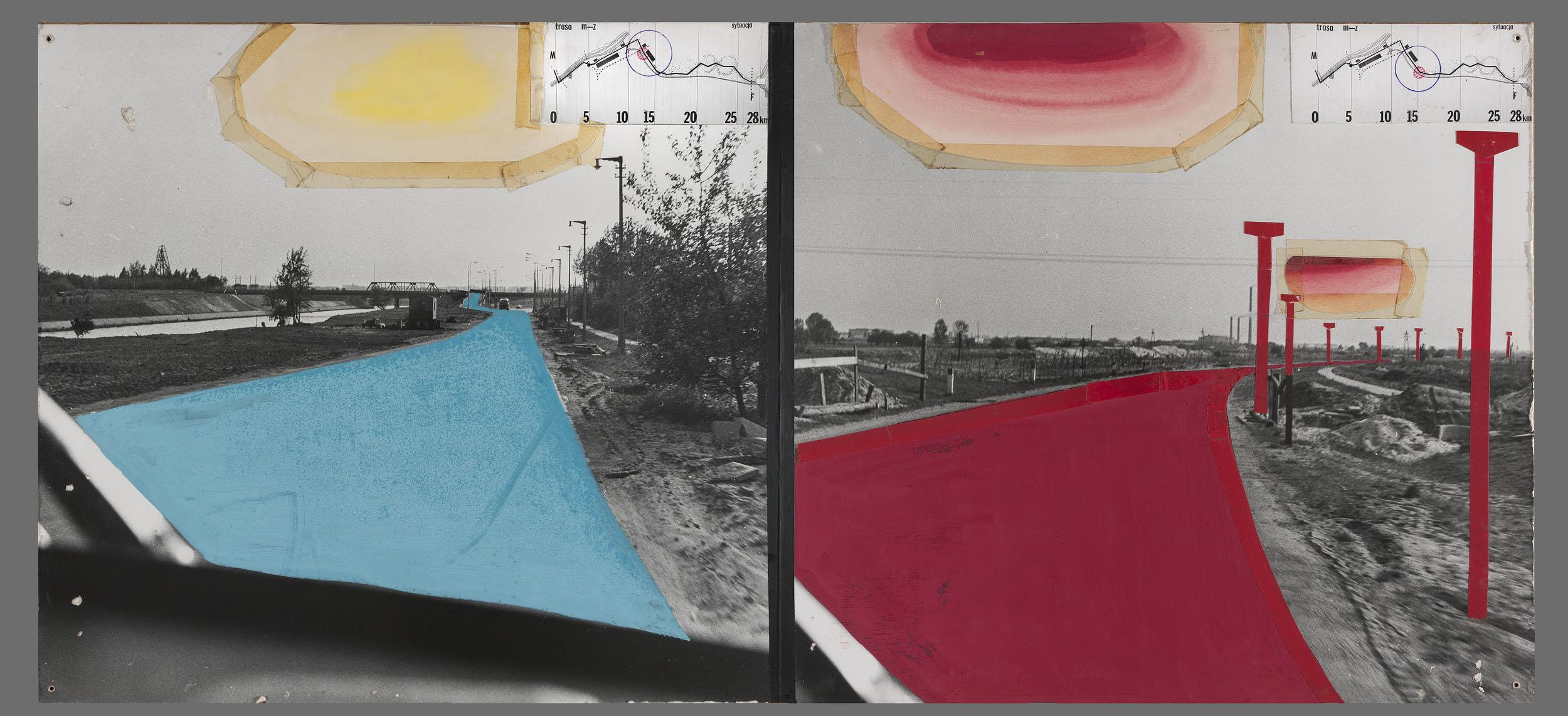 Stefan Gierowski  Propozycje zagospodarowania Trasy Muzeum – Zalew Zegrzyński, 1971 kolaż, fotografia, gwasz, druk, flamaster, papier nasklejce, 50 × 110 cm