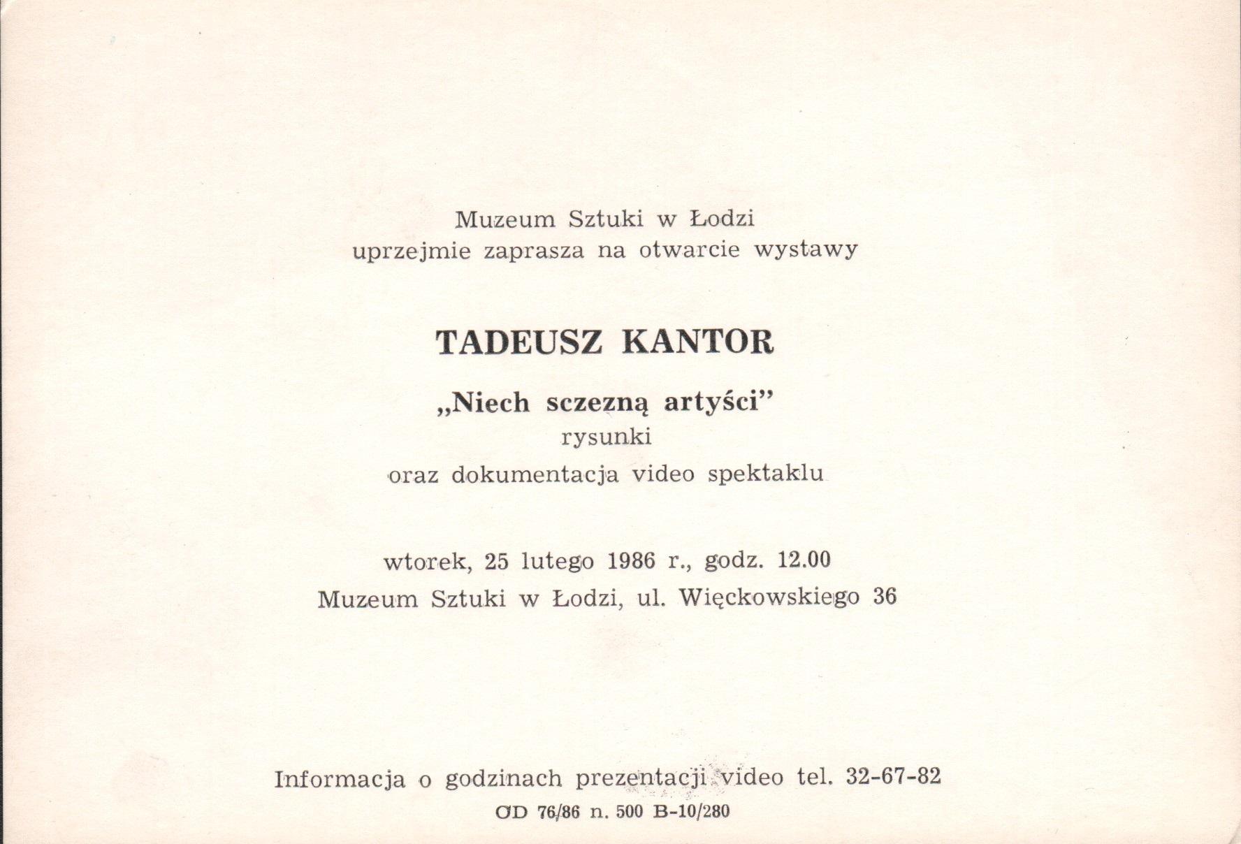 1986.02.26 Kantor Niechszczezną artyści zaproszenie