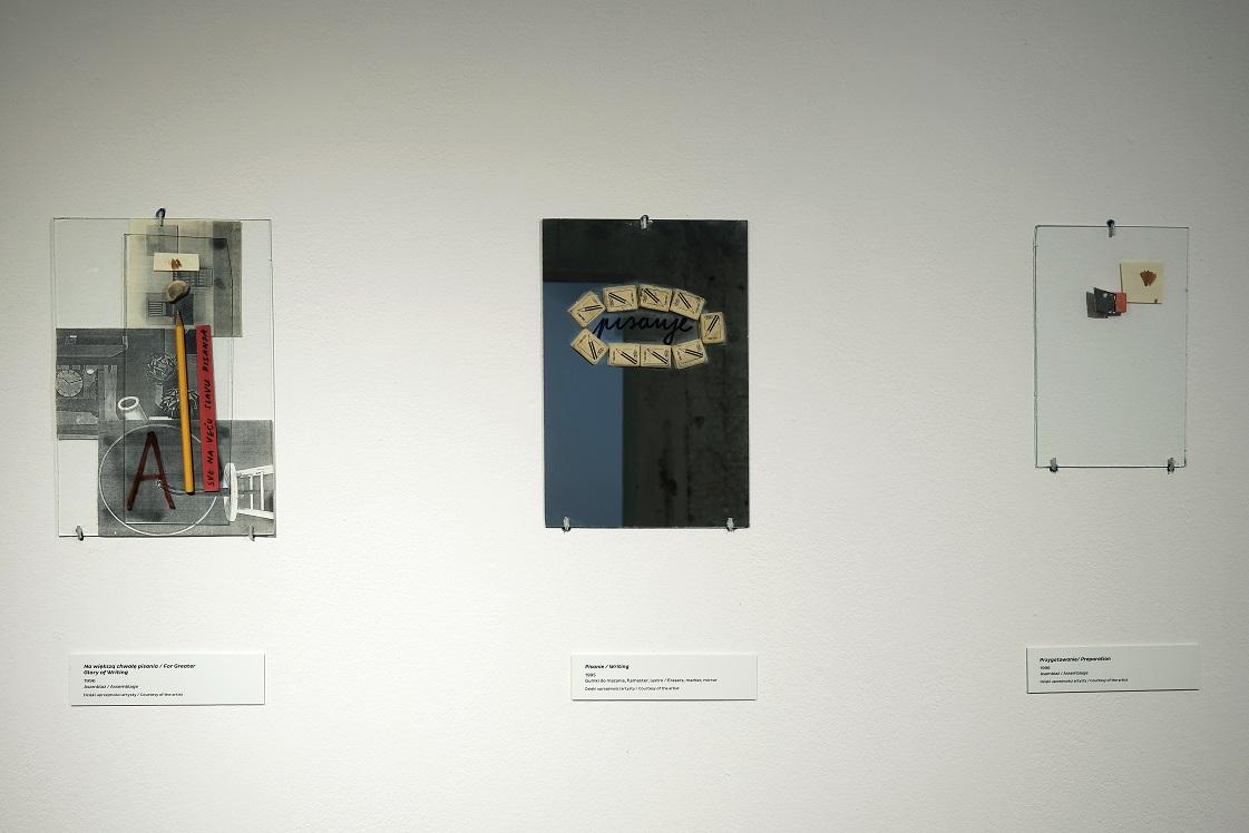 Od lewej: Vlado Martek, Nawiększą chwałę pisania, 1996; Pisanie, 1995; Przygotowanie, 1996. Fot.Małgorzata Kujda, © Muzeum Współczesne Wrocław, 2015