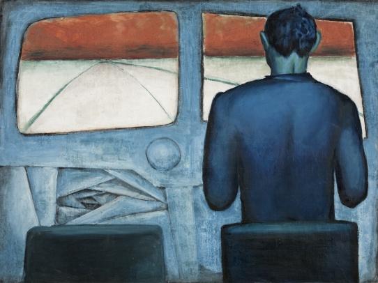 Andrzej Wróblewski, Szofer (Szofer niebieski), 1948, olej napłótnie, 89 x 120 cm, kolekcja prywatna, dzięki uprzejmości Fundacji Andrzeja Wróblewskiego