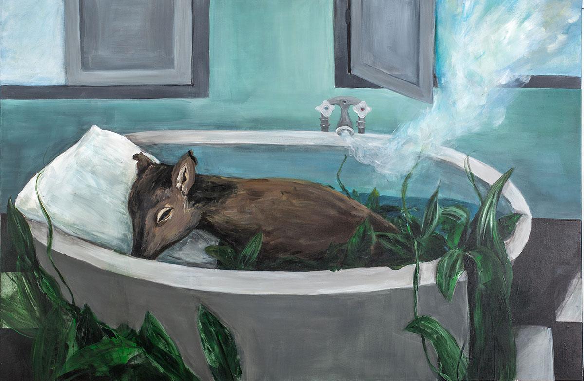 """Agula Swoboda, """"Shalom"""", 2015, akryl, płótno, 120 x 150 cm"""