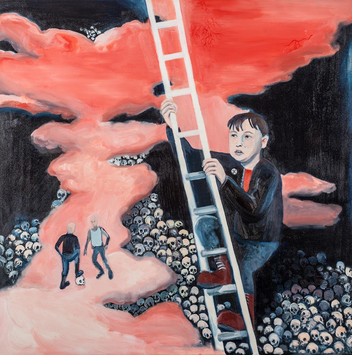 """Michał Gątarek, """"Deliryczne wniebowstąpienie"""", 2013, olej napłótnie, 110 x 110 cm"""