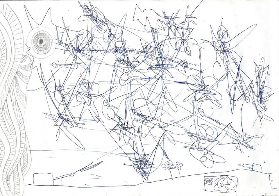 Łukasz Radziszewski, narysunku Małgorzaty Radziszewskiej, Wojenka, 1997, papier, długopis, ołówek
