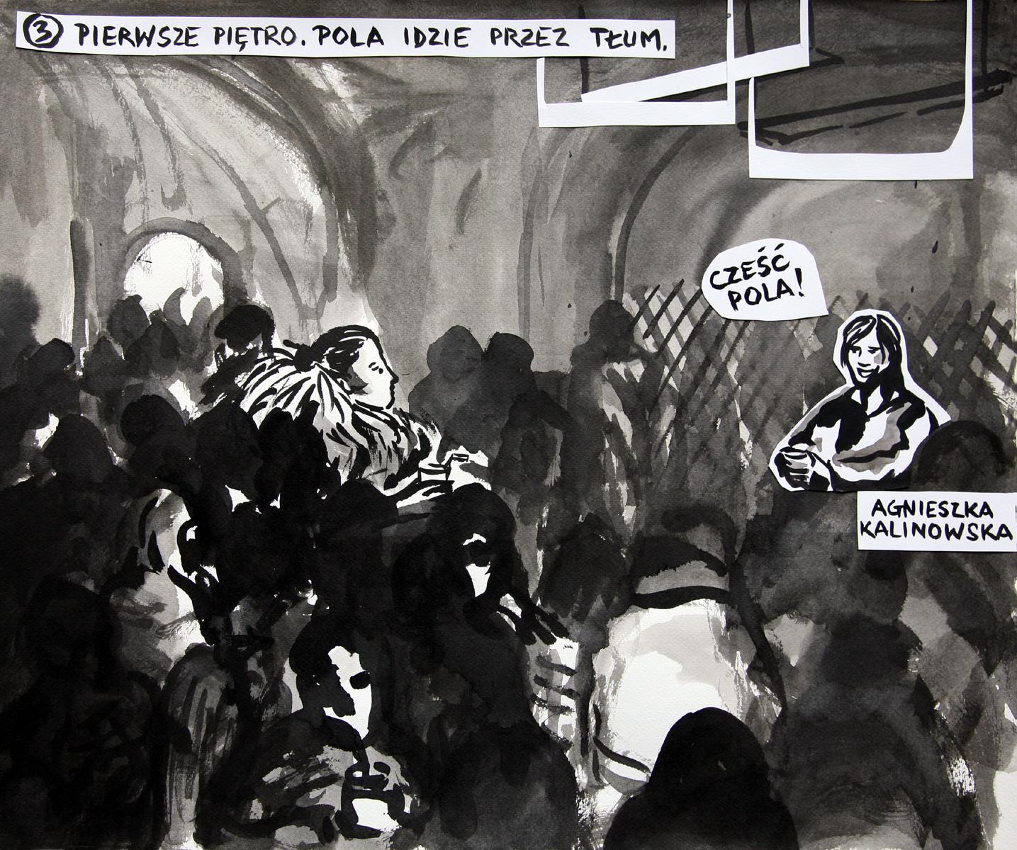 Pola Dwurnik, Piosenka dla Wojtka (fragment), 2014, tusz, gwasz ikolaż napapierze