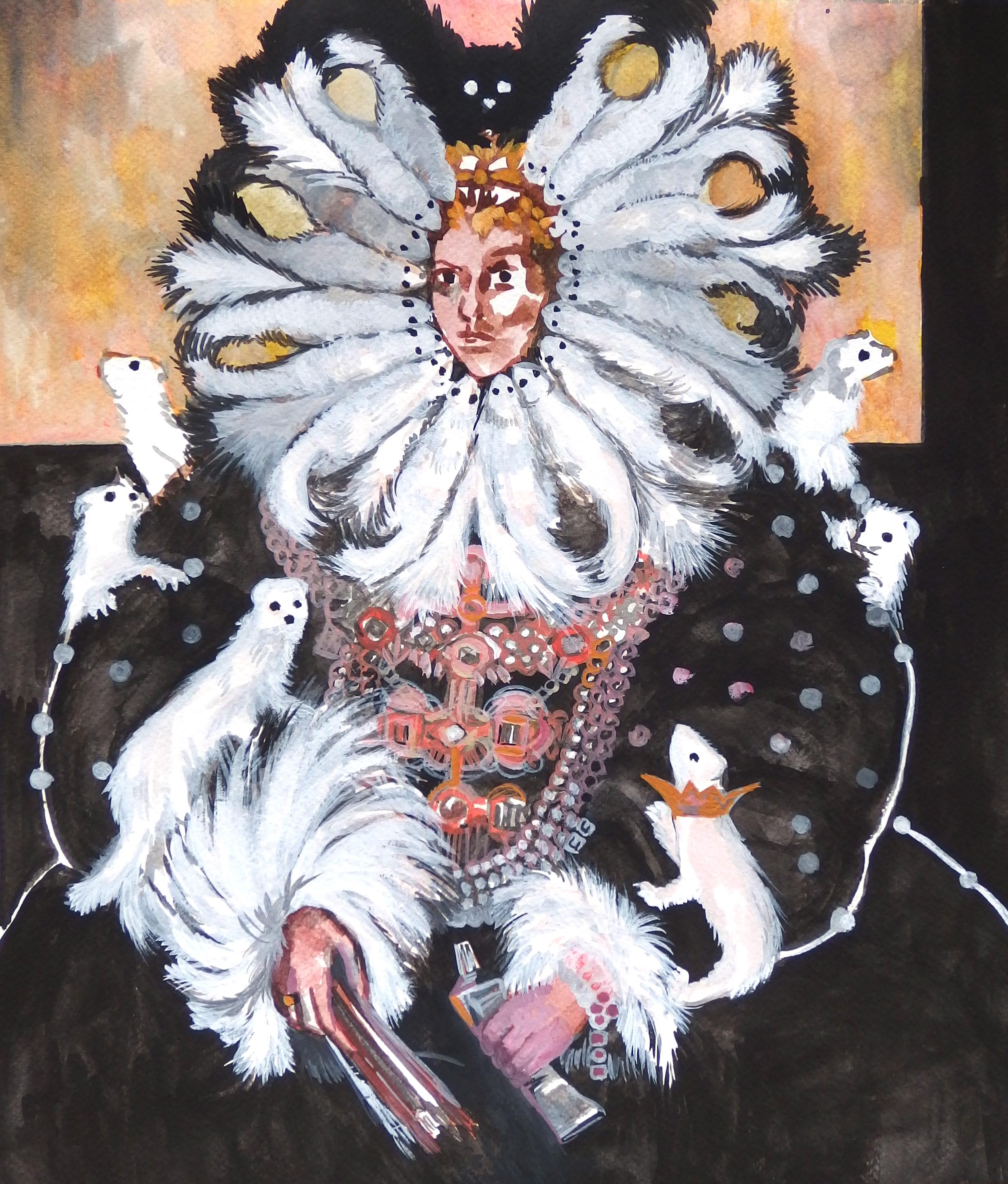 Pola Dwurnik, Królowa malarstwa złasiczkami, 2014, gwasz napapierze