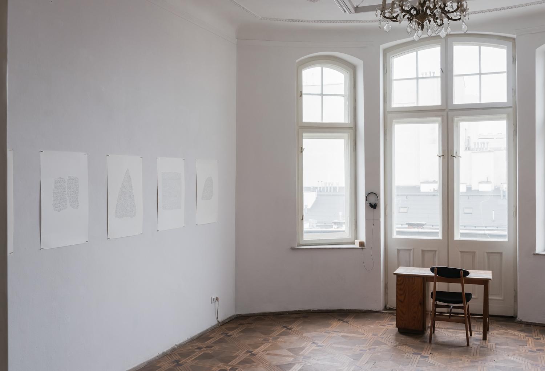 Ewa Zarzycka, Lata świetności, widok wystawy, napierwszym planie rysunki artystki