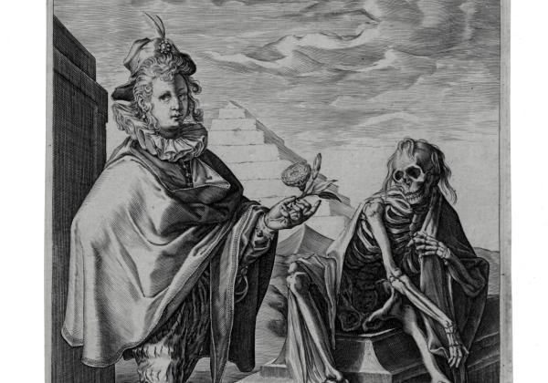nikomość świata – młodzian zkwiatem iśmierć nagrobie, Jan Saenredam według Hendricka Goltziusa, Haarlem, 1592, miedzioryt, zezbiorów Gabinetu Rycin PAU wBibliotece Naukowej PAN iPAU wKrakowie.