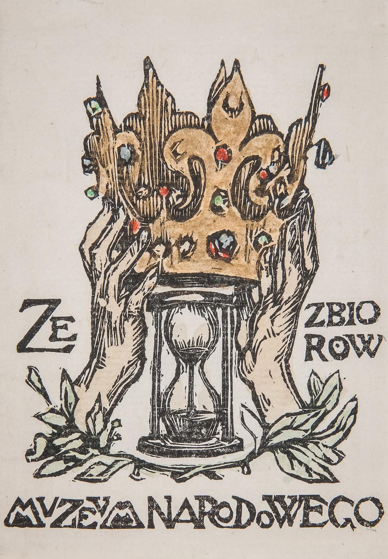 Ekslibris Muzeum Narodowego wKrakowie, Kraków, 1901, Bukowski Jan (1873–1943), drzeworyt barwny