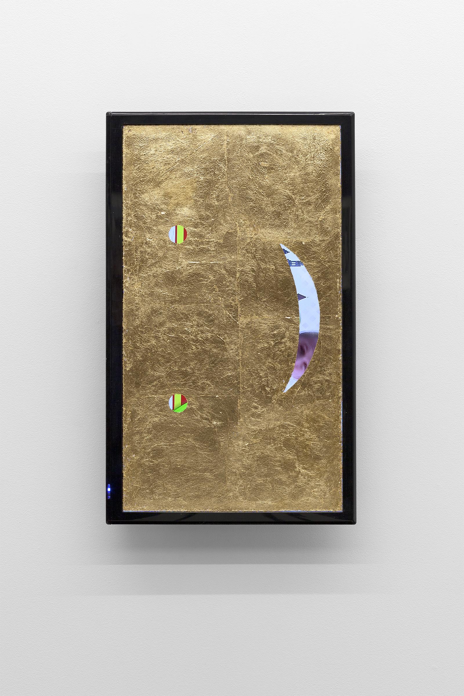 Agnieszka Brzeżańska, Beztytułu, 2016, ekran LCD, szlagmetal, 55,5 x 33,5 x 7 cm, dzięki uprzejmości Artystki iGalerii Kasia Michalski