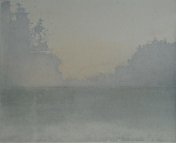 """Monika Niwelińska, 4 sec. sunrise (zserii """"Radioactive""""), foto-intaglio, nieutrwalona folia światłoczuła Imagon nablasze miedzianej, naświetlanie UV, klisze negatywowe (dokumentacja przestrzeni popromiennych), drukowana napapierze gampi"""