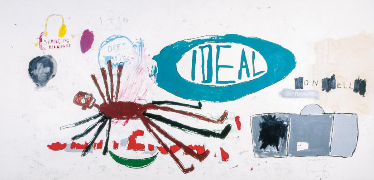 Jean-Michel Basquiat, Levétation, kredka china marker ifarba olejna wsztyfcie umieszczonym napapierze umieszczonym napłótnie, 230 x 472 cm; dzięki uprzejmości Sammlung Hoffmann wBerlinie