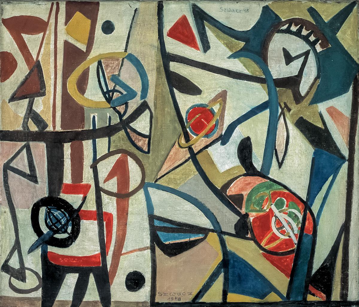 Bogusław Szwacz, Kompozycja, 1948, olej, płótno, 55,5 x 65,5 cm
