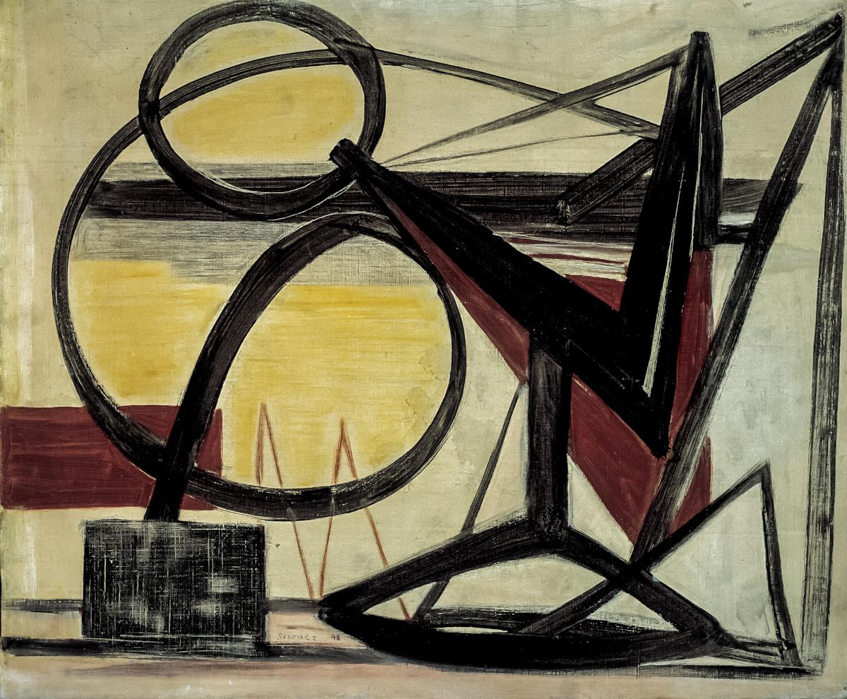 Bogusław Szwacz, Kompozycja, 1948, olej, płótno, 54 x 65 cm