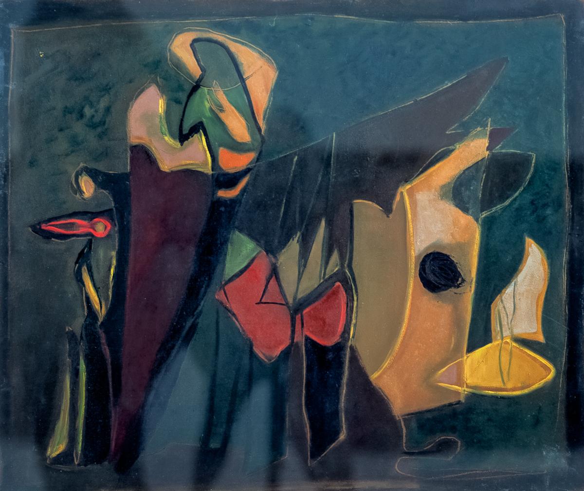 Bogusław Szwacz, Kompozycja, 1948, olej, papier, 57 x 67,3 cm