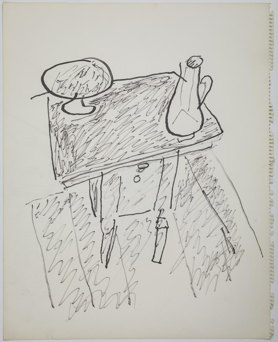 Józef Czapski, Stolik zpaterą idzbankiem, pisak, papier, 46 x 36.5 cm, fot.MNK
