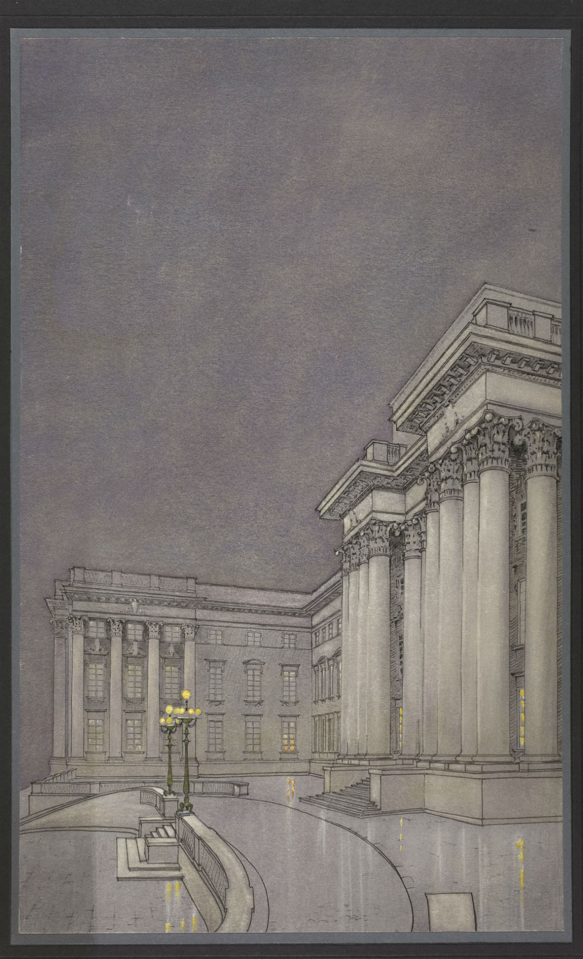 LXXXIV Konkurs ogłoszony przezKoło Architektów nabudowę gmachu dla Muzeum Narodowego wWarszawie. Praca nr7. Wejście główne domuzeum woświetleniu nocnym, 1924, proj. Jan Bagieński (1883–1967), tusz, kredka, gwasz, papier natekturze, 52,5 × 31,9 cm (tektura 63,1 × 42,1 cm)