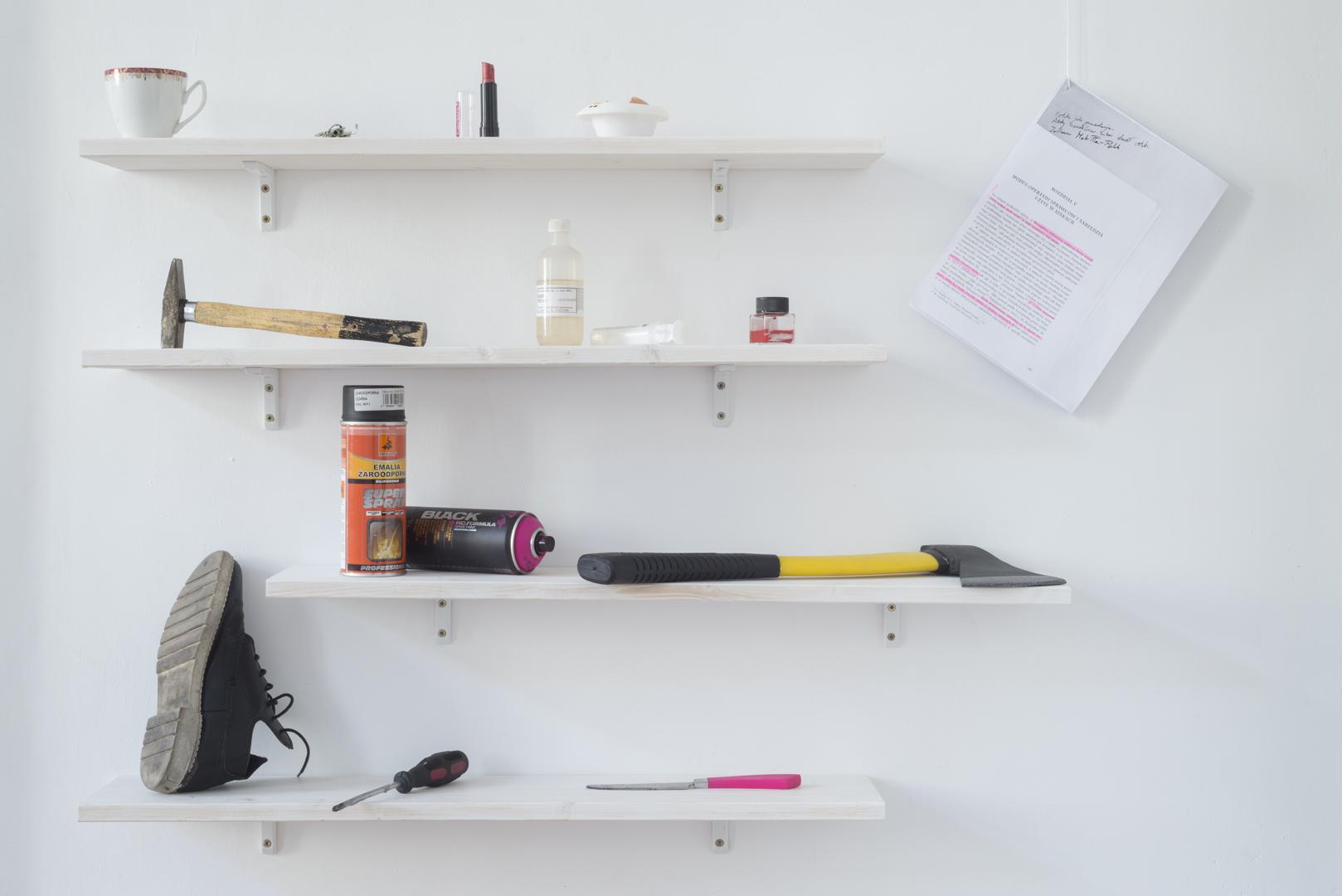Narzędzia, 2016, przedmioty siekiera, atrament, nożyczki dopaznokci, kwas siarkowy, szminka, jajko, sprej, nóż, śrubokręt, klucze, but, młotek