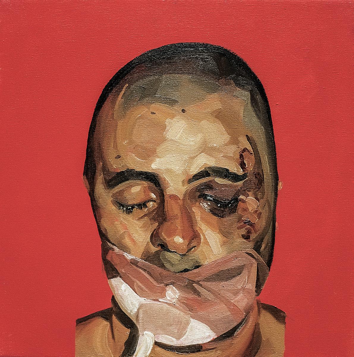 Mark Gilbert, Chris P.I, 1999–2000, olej / płótno, 45,72 × 45,72 cm, dzięki uprzejmości Saving Faces, Mark Gilbert, Professor Iain Hutchison